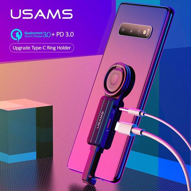 USAMS タイプ c 3.5 ミリメートル aux アダプタ otg タイプ c アダプタミニ OTG オーディオアダプタ PD qc 3.0 高速充電アダプタサムスン s9 Huawei 社