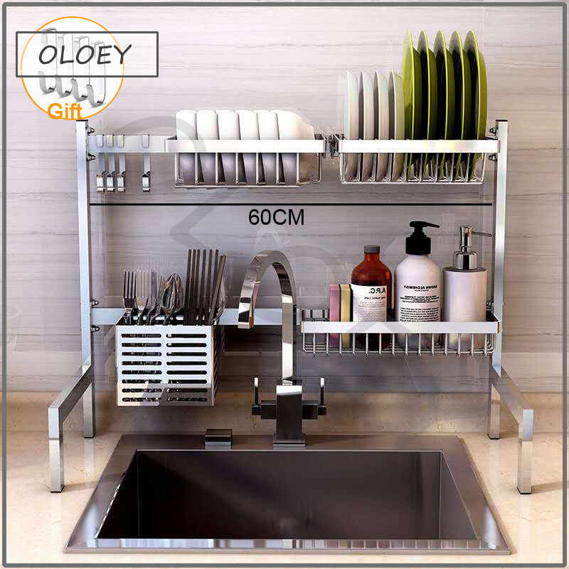 304 stainless steel tableware sink drain rack dish rack folding kitchen drain rack desktop storage supplies drying storage rack