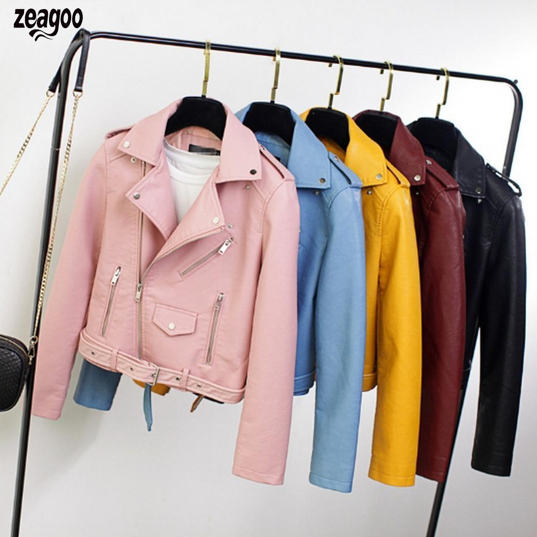 Women Fashion Turn Down Collar Long Solid Sleeve Pocket Causal Artificial   Leather   Jacket Winter, Autumn