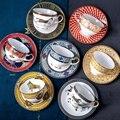 Coffee Mugs Cup Royal Bone China Travel Art Painting Ceramic Creative Cups Spoon Set Gift European Luxury Tazas Kitchen Decor