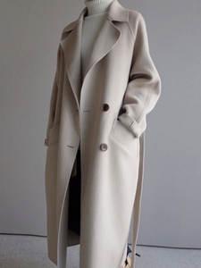 Outwear Overcoat Camel Beige Woolen Vintage Black Elegant Korean-Fashion Winter Women