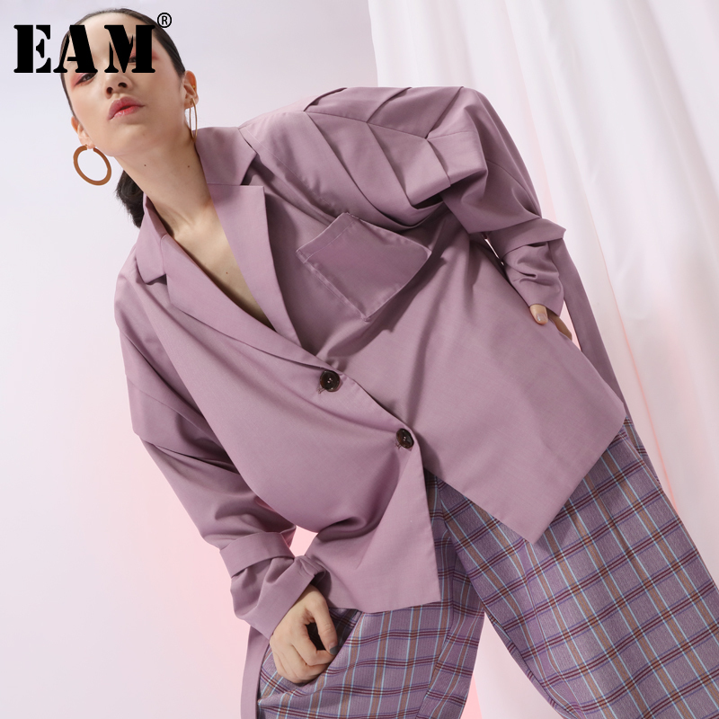 [EAM] 2020 New Spring Lapel Long Sleeve Apricot Loose Ribbon Stitch Large Size Jacket Women Coat Fashion Tide JI586