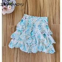 ZIWWSHAOYU Summer Female Elegant Vintage Organza Skirt Runway Designer Women Print Embroidery Hollow Out Pearls Short Skirts