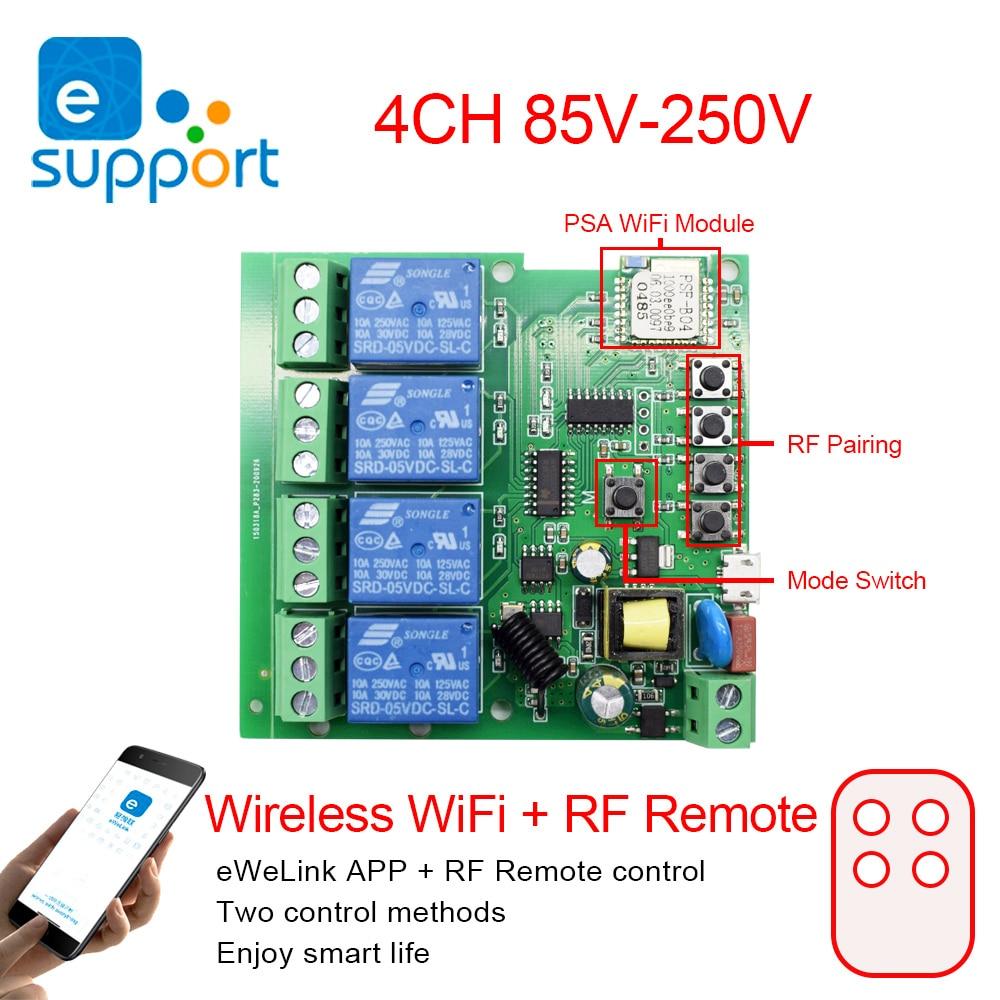 EWeLink télécommande intelligente sans fil Wifi commutateur Module 1/4CH cc 7-32V 5V ca 85-250 V RF récepteur 10A relais pour Alexa IFTTT