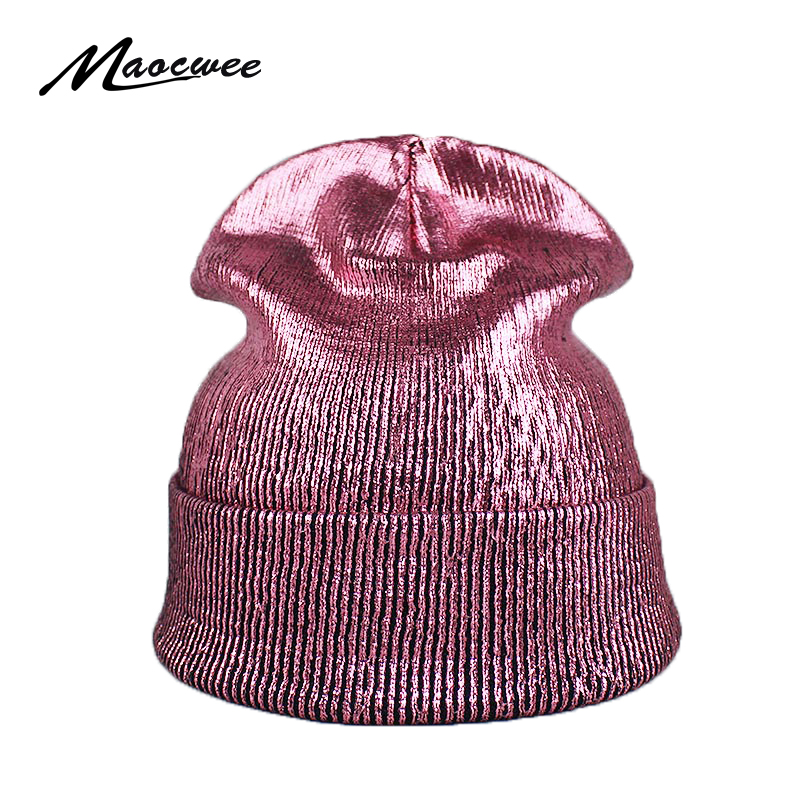 Women Pompom Beanie Hats Caps Bronzing Gold Silver Knitting Pink Faux Fur Beanies Warm Cap Autumn Winter Fashion High Quality