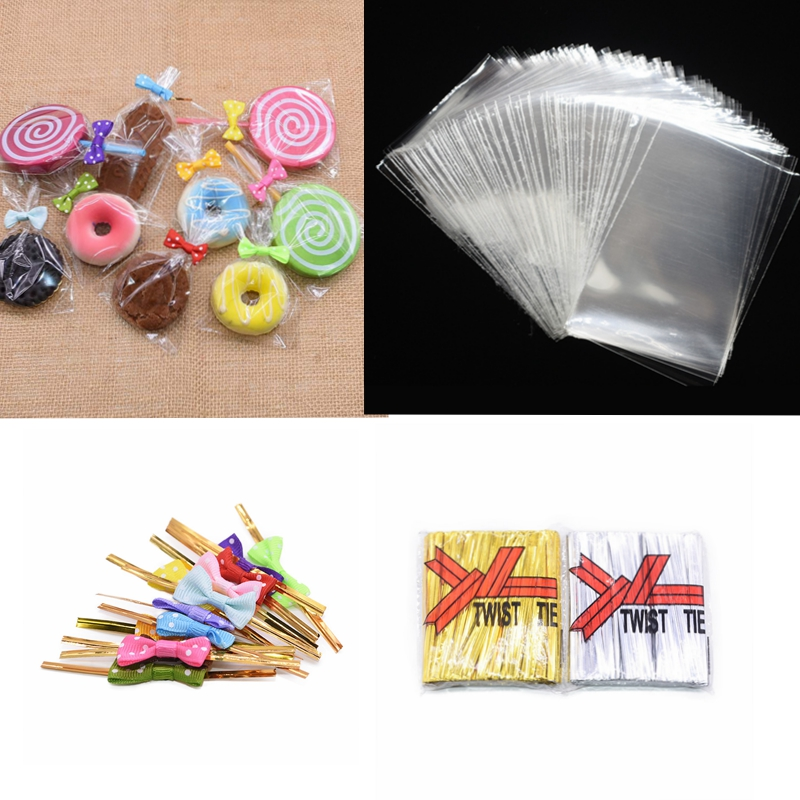 100pcs Plastic Bags Candy Lollipop Cookie Packaging Bags Clear Plastic Bag Birthday Wedding Xmas Party Decor Gift Bags