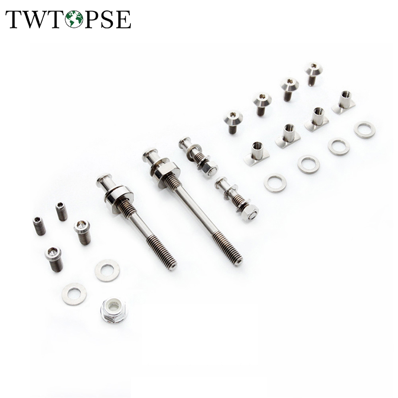 Titanium Bicycle Brake Bolt Screws Set For Brompton Folding Bike Ultralight Caliper Bolt Set 37g & Brake Pad Screws Nuts Set 14g