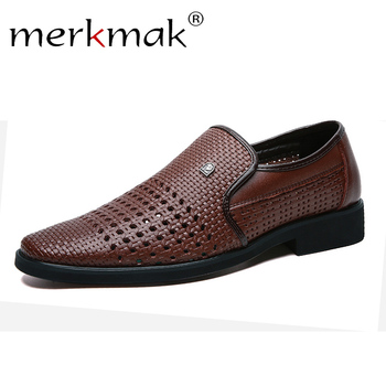 Merkmak Men Dress Shoes Genuine Leather Hollow Out Oxfords Shoes Formal Men Wedding Party Brogue Shoes Business Leather Footwear