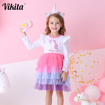 VIKITA New Girls Autumn Dress Kids Lace Tulle Cake Princess Dress Girl Casual School Party Unicorn Clothes Kids Dresses for Girl girls party dress disfraz princesa 2017 brand kids dresses princess costume lace 2colors children dress girl clothes