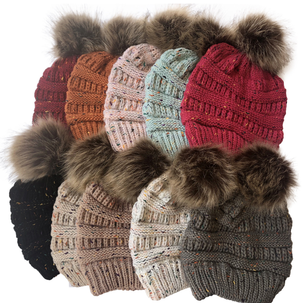 Image 5 - Women's Winter Warm Beanie Hats with Cute Faux Fur Pom Pom Ball knitted caps Skullies Outdoor Casual ski caps-in Men's Skullies & Beanies from Apparel Accessories on AliExpress