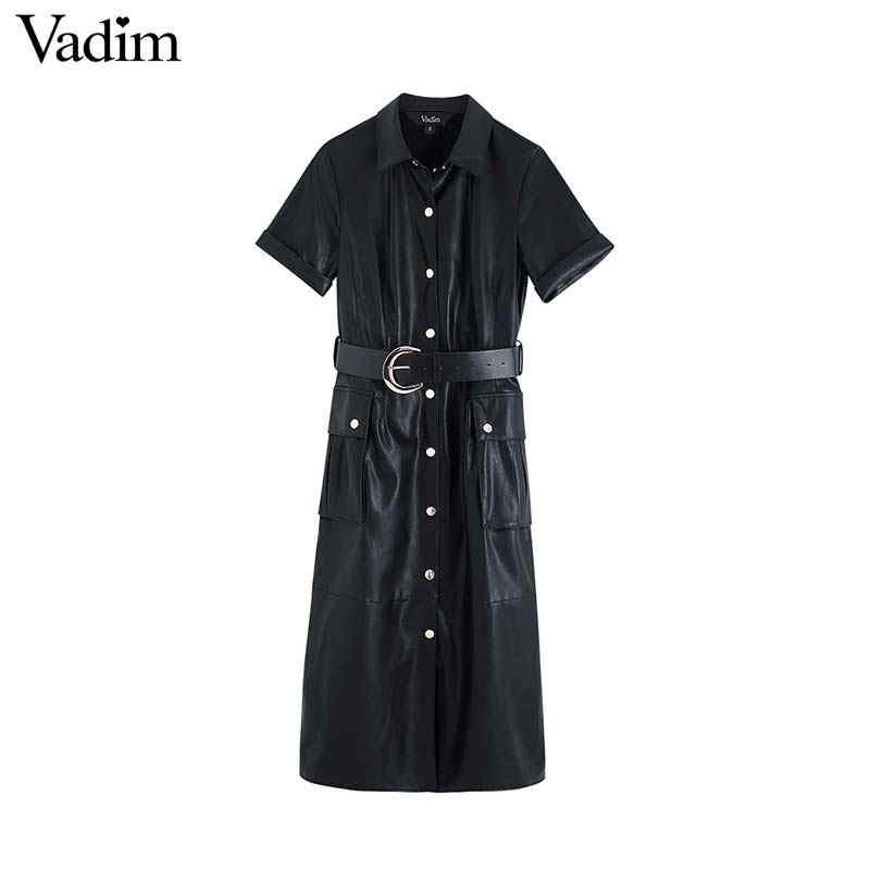 Vadim frauen stilvolle PU leder midi kleid schärpen design taschen kurzarm weibliche mode casual kleider solide vestidos QD063