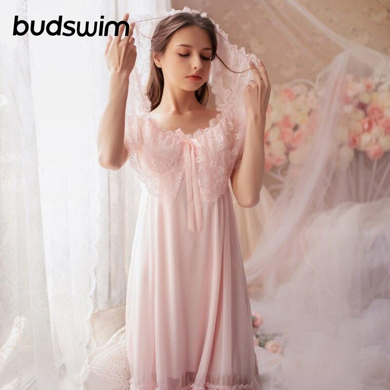 Elegant Sleepdress   Nightgowns     Sleepshirts   Lace Sleepwear Sexy Home Dress Chiffon Nightdress Sleep & Lounge   Nightgown   Female
