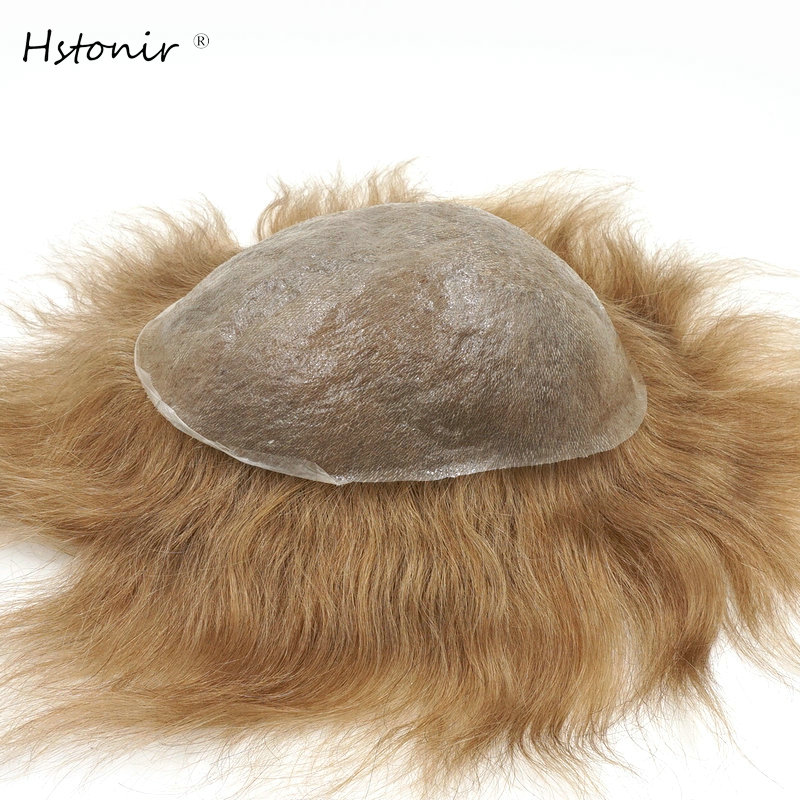Hstonir Indian Hair Wig Mens Hair Pieces For Men European Wig Mircro Thin Skin Hair Replacement H078