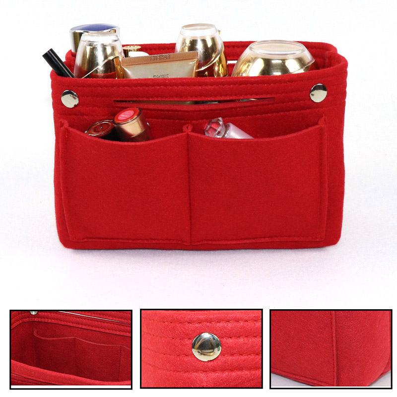 Felt Insert Purse Organizer Handbag Foldable Cosmetic Travel Bag For Women  O66