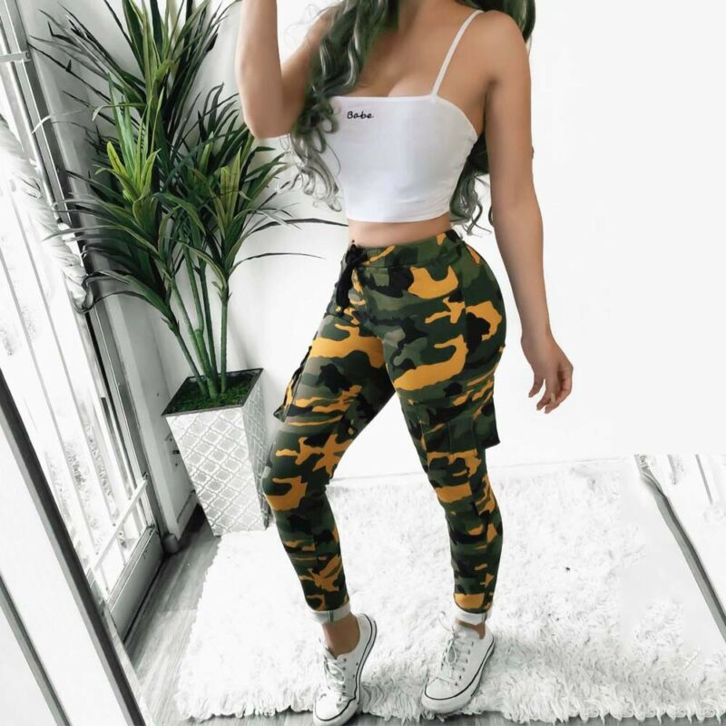 Women's Camo Cargo Trousers High Waist Casual Pants Military Army Combat Camouflage Sports Pants Women Pantalones Militar Mujer
