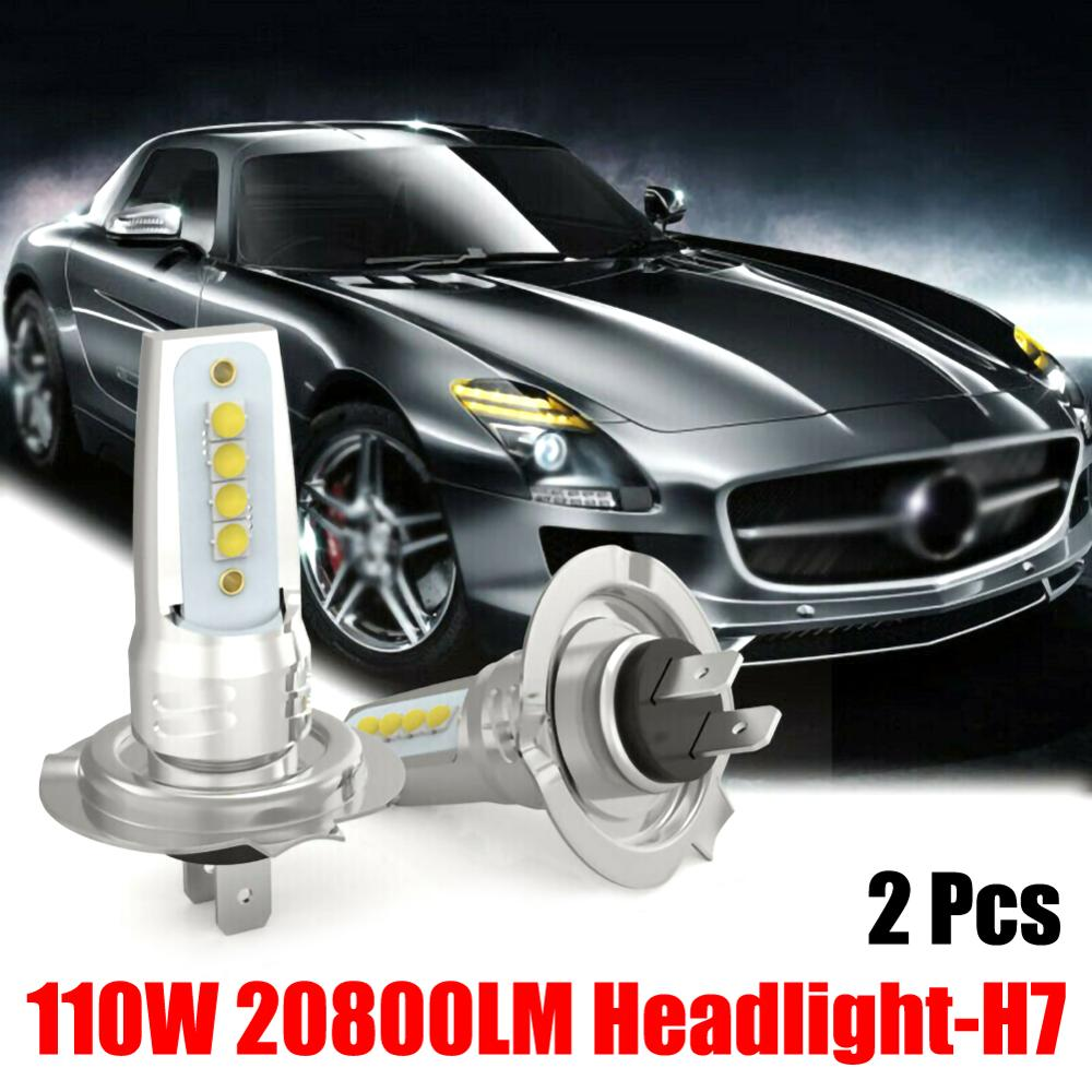 New Upgrade 2PCS H7 LED Headlight Conversion Set Cob Bulb 110W / 20800LM White Low Light Bulbs Wholesale Quick Delivery CSV