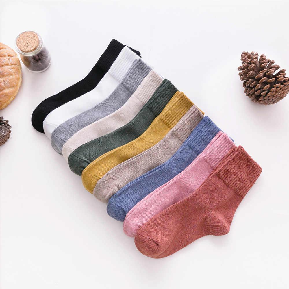 ของแข็งสีผู้หญิงถุงเท้าผ้าฝ้าย 100% คุณภาพสูงฤดูใบไม้ร่วงฤดูหนาวซี่โครงด้านบน Paddy พื้นฐานที่มีสีสันนุ่มถุงเท้า Lady Harajuku