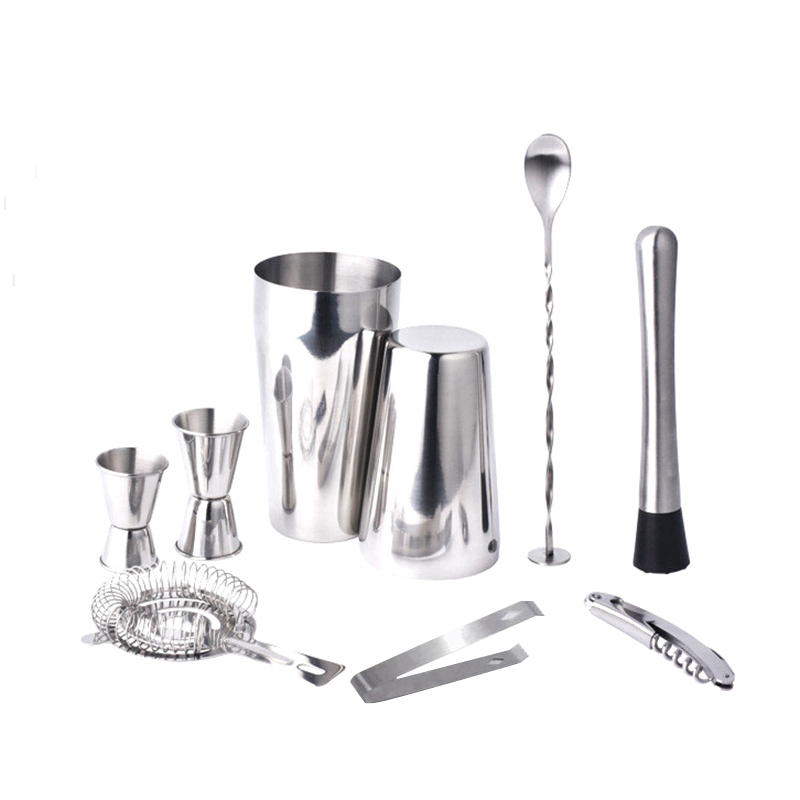 Boston Double Shaker Bar Tools Bpa Free Stainless Steel 304 High-End 9 Pieces Cocktail Shakers Set Ultimate Collection Bartender