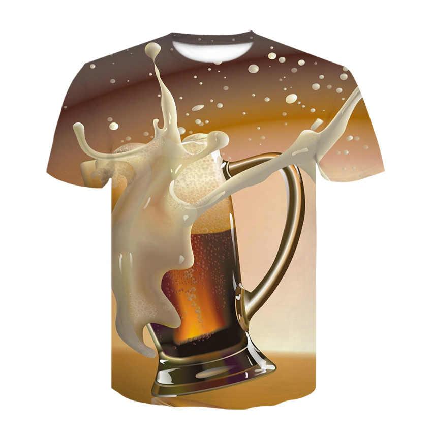 Новинка 2019, Мужская 3D футболка в стиле хип-хоп с принтом банок пива, Мужская/женская футболка с круглым вырезом и коротким рукавом, топы, оптовая продажа