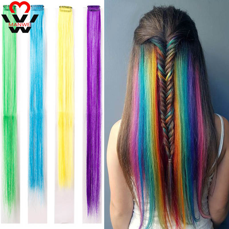 MANWEI 20inch Long Single Clip In One Piece Hair Extensions Long Straight Heat Resistant Synthetic Pink Green Hair Pieces