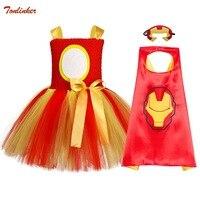 Girl Christmas Dress Super Hero Costume With Cape Kids Halloween Tutu Dress Gold Red Cartoon Costume Children Superheros Clothes