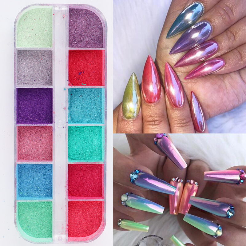 12 Grids Chrome For Nail Art Decorations Nail Powder Dipping Shimmer Dust Colorful Pigment Powder Rubbing Pearl Glitter
