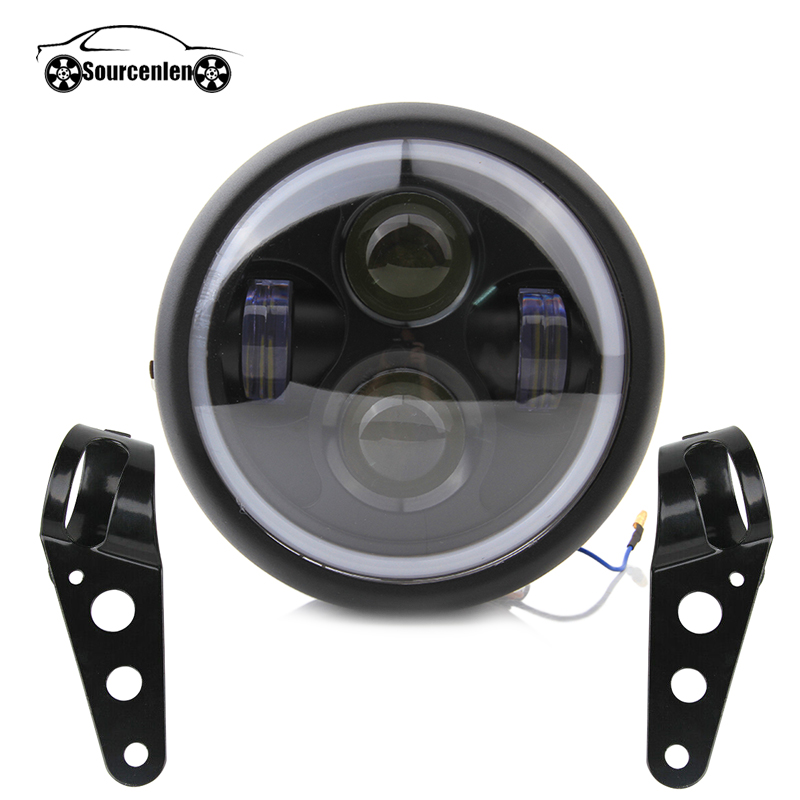 Ретро 6,5 светодиодные фары мотоцикла кронштейн фары кольцо Ангела Hi & Lo луч лампы для Harley Sportster Кафе Racer поплавок