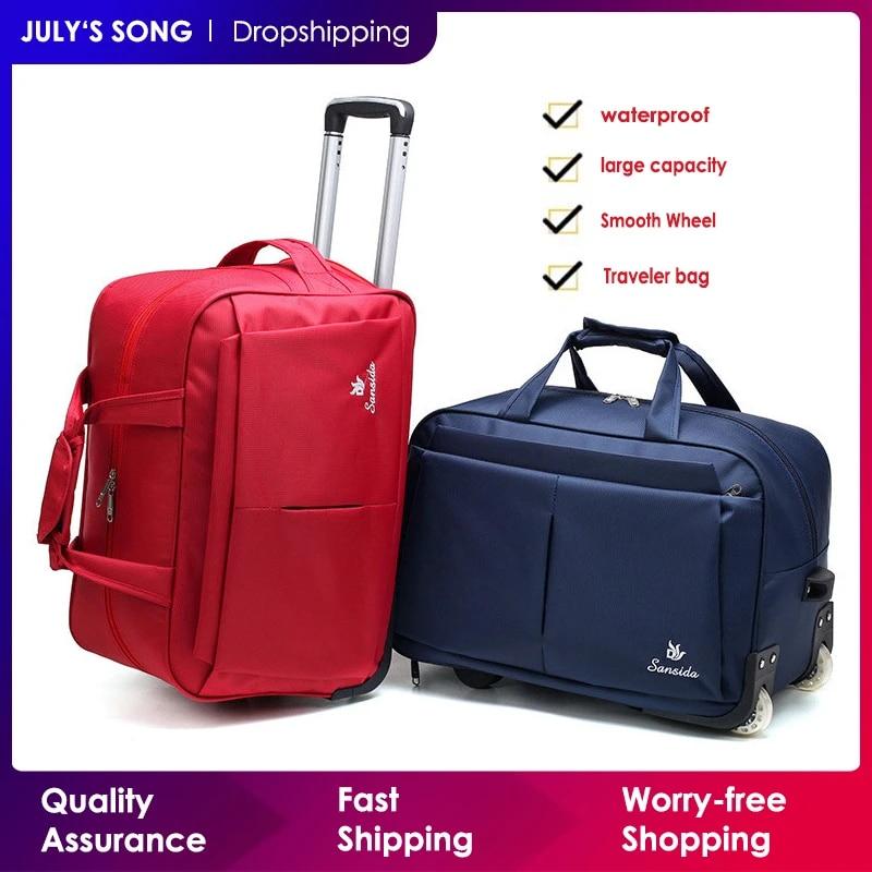 Багажная сумка-тележка, большая Вместительная дорожная сумка с колесами для женщин и мужчин, Дорожный чемодан, сумка для ручной клади, сумка для багажа