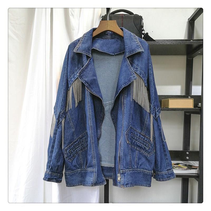 Automne femmes lâche Denim veste femme mode Boyfrieds Style manteau Outwear solide gland Jeans Jean Streetwear