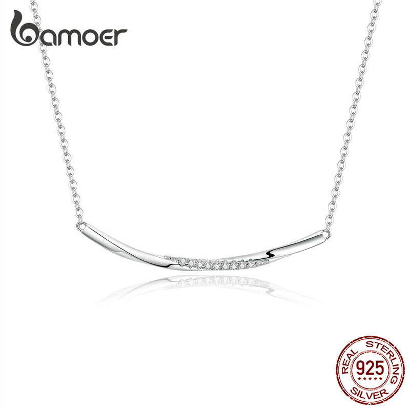 Bamoer Minimalist Silver 925 Jewelry Clear Wave Clear CZ Choker Necklace For Women Female Fine Jewelry Gifts Accessories BSN130