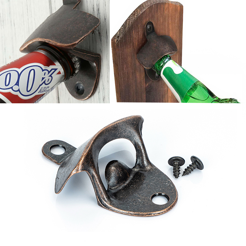 Vintage Bottle Opener Wall Mounted Wine Beer Opener Tools Bar Drinking Accessories Home Decor Kitchen Party Supplies(China)