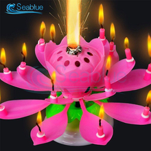 Cake Candle Cake-Decoration Flower Happy-Birthday Musical-Lotus Party DIY No Innovative