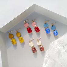 Contracted resin stud earrings female fashion geometric candy girl earrings adorn article the new european and american fashion earrings contracted dazzle colour hollow out long wings ms popular earrings adorn article