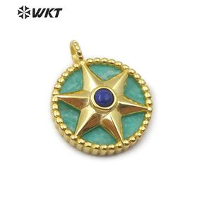 Image 5 - WT P1488 Natural Stone Pendant Round Shape Gold Electroplated Hexagonal Star With Stone Bead Fashion Woman  Pendant
