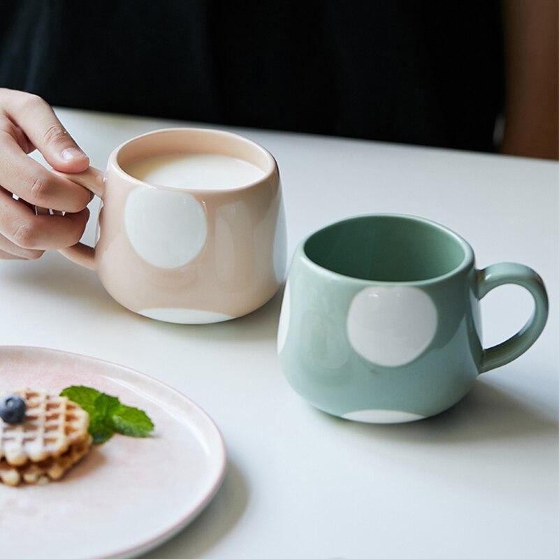 360ml Creative Cute Cute Ceramics Coffee Mug Geometric Handmade Mugs Drinkware Breakfast Milk Tea Water Cup With Handle Gift Cup