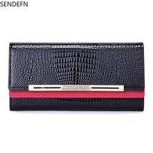 SENDEFN Crocodile Women 's Designer Wallet Genuine Leather Day Clutch Purse Bag Luxury Wallet fashion women s clutch bag with pu leather and crocodile print design