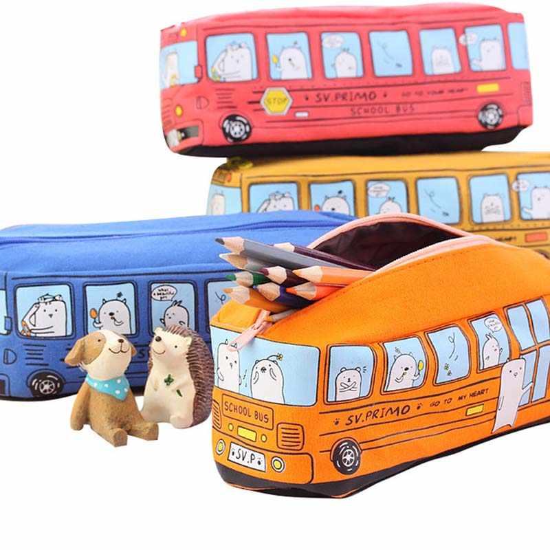 Porte-crayon Kawaii grande grande capacité Bus forme étui à crayons école stylo fournitures sac à crayons école boîte papeterie ensemble
