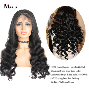 Image 4 - Meetu 13X4 Lace Front Wig Loose Wave Human Hair Wigs For Black Women Brazilian Transparent Lace Front Human Hair Wig Pre Plucked