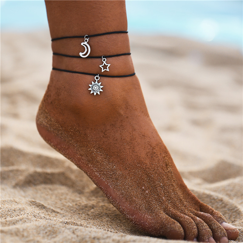 Sun Star And Moon Dangle Triple Black Rope Anklets Bracelet Simple Women Beach Foot Jewelry