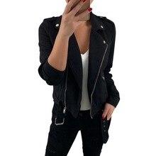 OEAK 2019 New Woman Autumn Jackets Solid Slim Cool Zipper Outwear Plus Size Coats Long Sleeve Basic Turn-down Collar Jacket