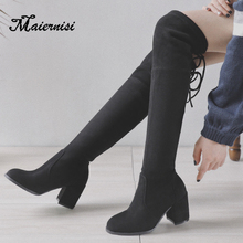 MAIERNISI Woman Over the Knee Boot Flock Stretch Long Thick high heel Platform Shoes Lady High Heels Big Size 34-43