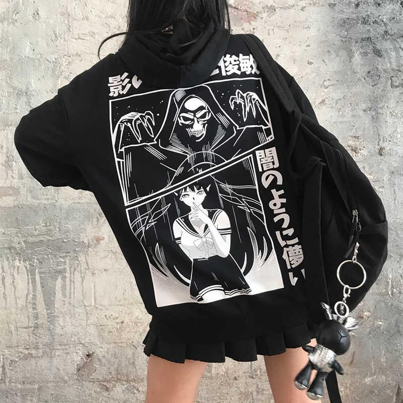 InsGoth Harajuku Grunge luźne czarna bluza z kapturem bluza damska Gothic Streetwear Punk sweter Cartoon drukowane Oversize bluza z kapturem Top