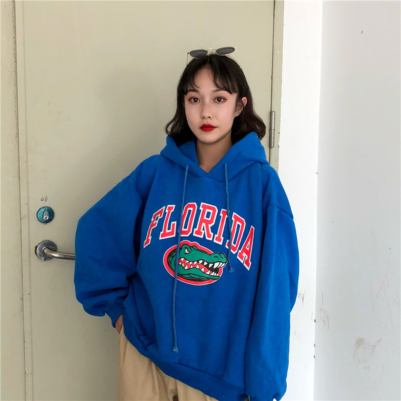 Hoodies Thicker Plus Velvet Letter Printed Harajuku Women Hooded Trendy Batwing Sleeve All-match Womens Korean Style Pullover