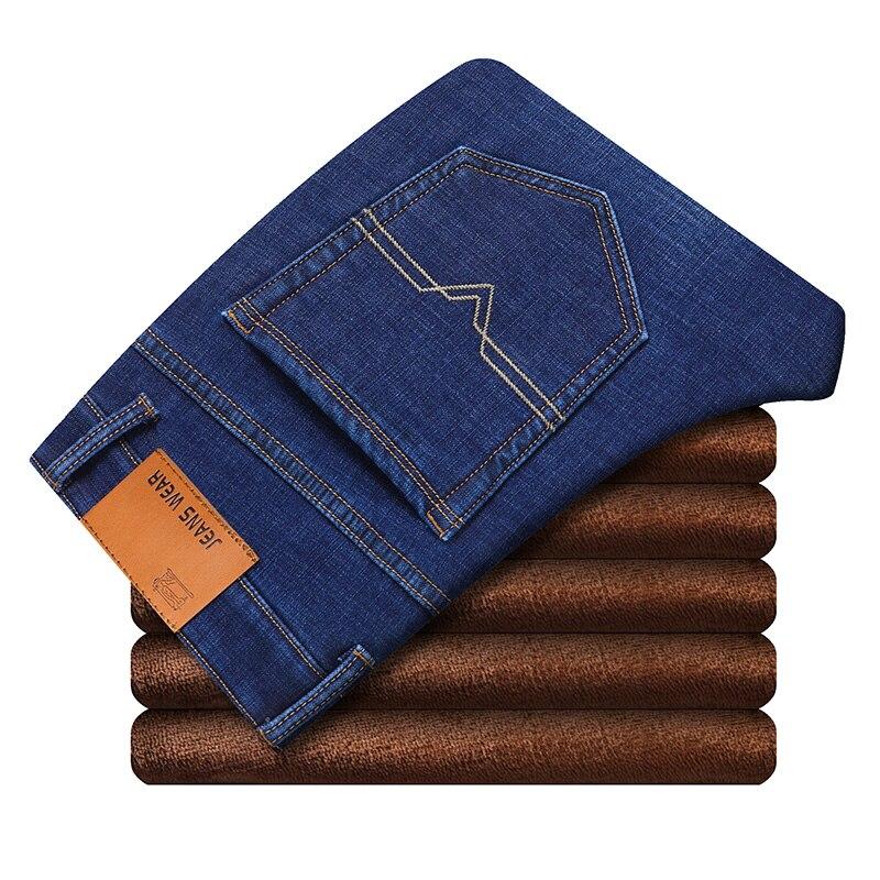 Новые мужские спортивные теплые флисовые джинсы высокого качества, известные осенне-зимние джинсы, теплые мягкие мужские джинсы из флока