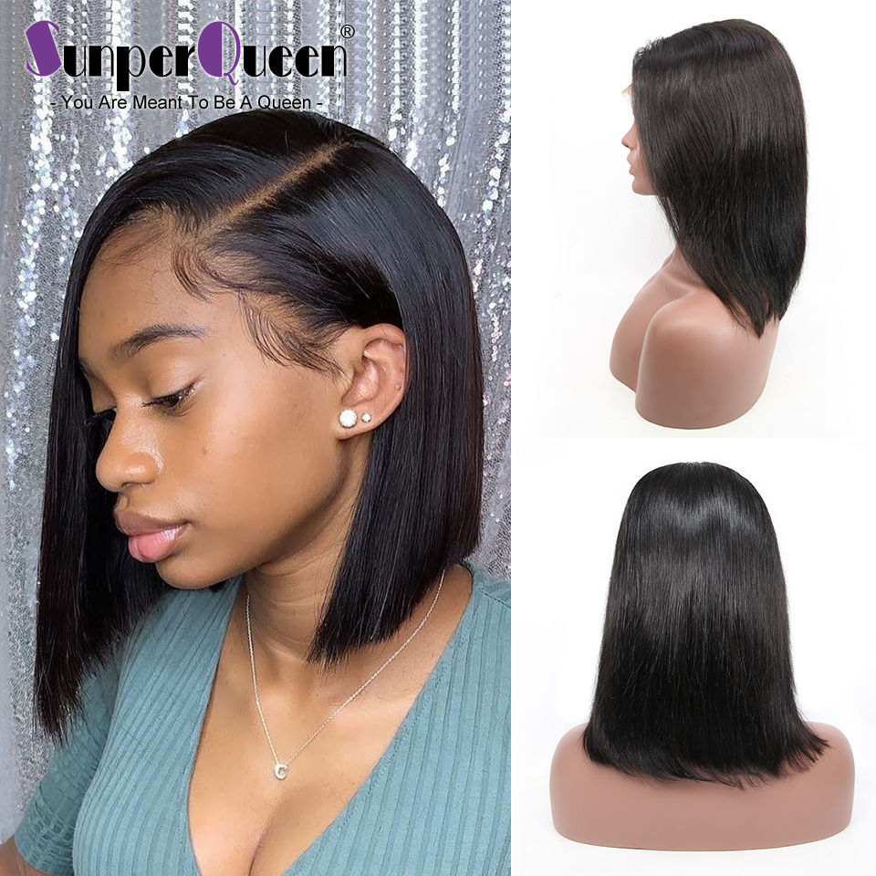 Lace Front Remy Human Hair Wigs Short Bob Wig Pre Plucked Hairline With Baby Hair Lace