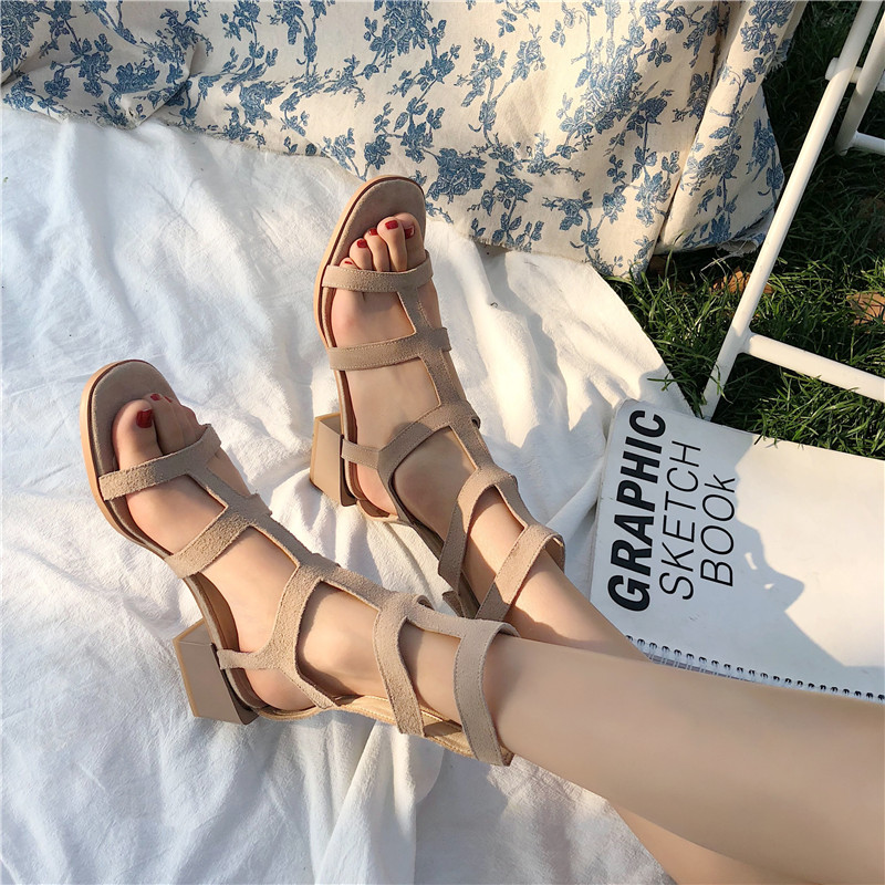 shoes Spring Shoes 2020 Sandals All-Match Suit Female Beige High Heels Comfort Block Women's Heeled For Fashion Summer Ladies(China)