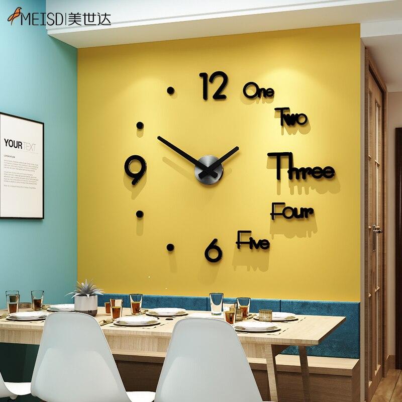 3d Real Big Horloge murale précipités Miroir Autocollant Mural À faire soi-même Salon Home Decor FAS