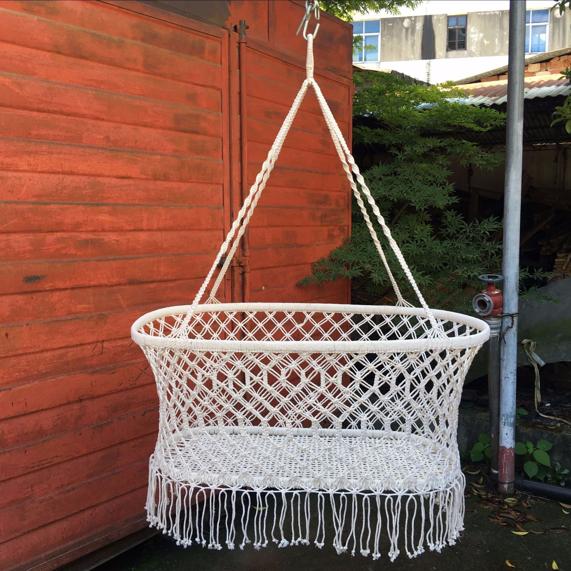 Northern European Wind Hollowed Out Reticulated Cotton Rope Woven Baby Basket Photography Camera Props Indoor Swing Baby Swing
