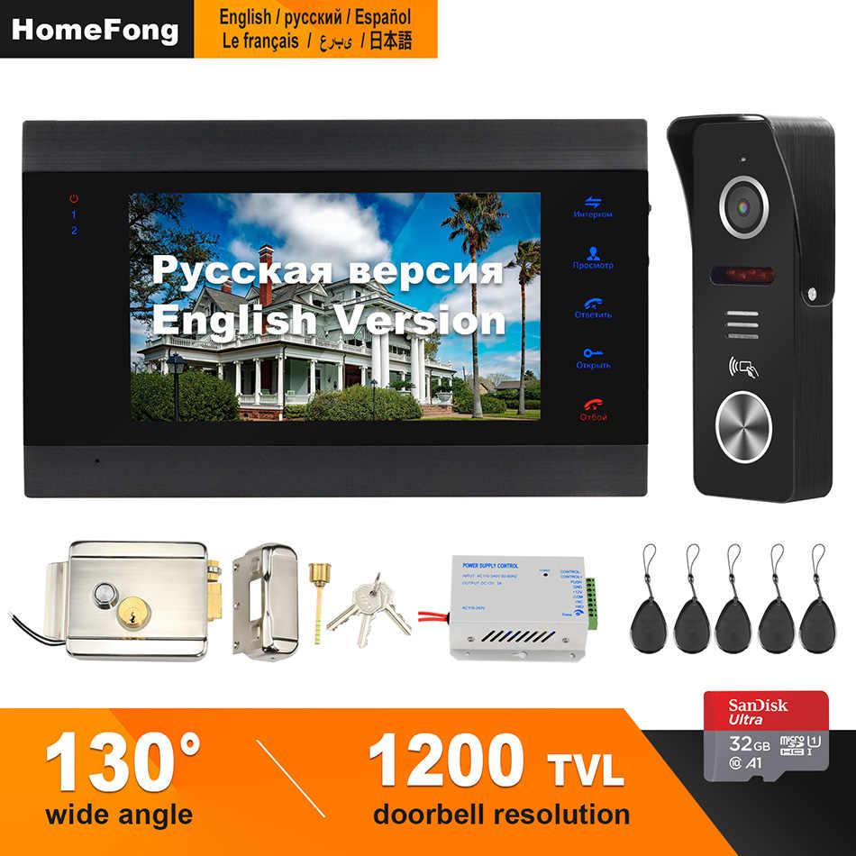 HomeFong 7 pulgadas Video puerta sistema de teléfono soporte grabación detección movimiento 130 ° timbre cámara para el hogar video timbre con bloqueo