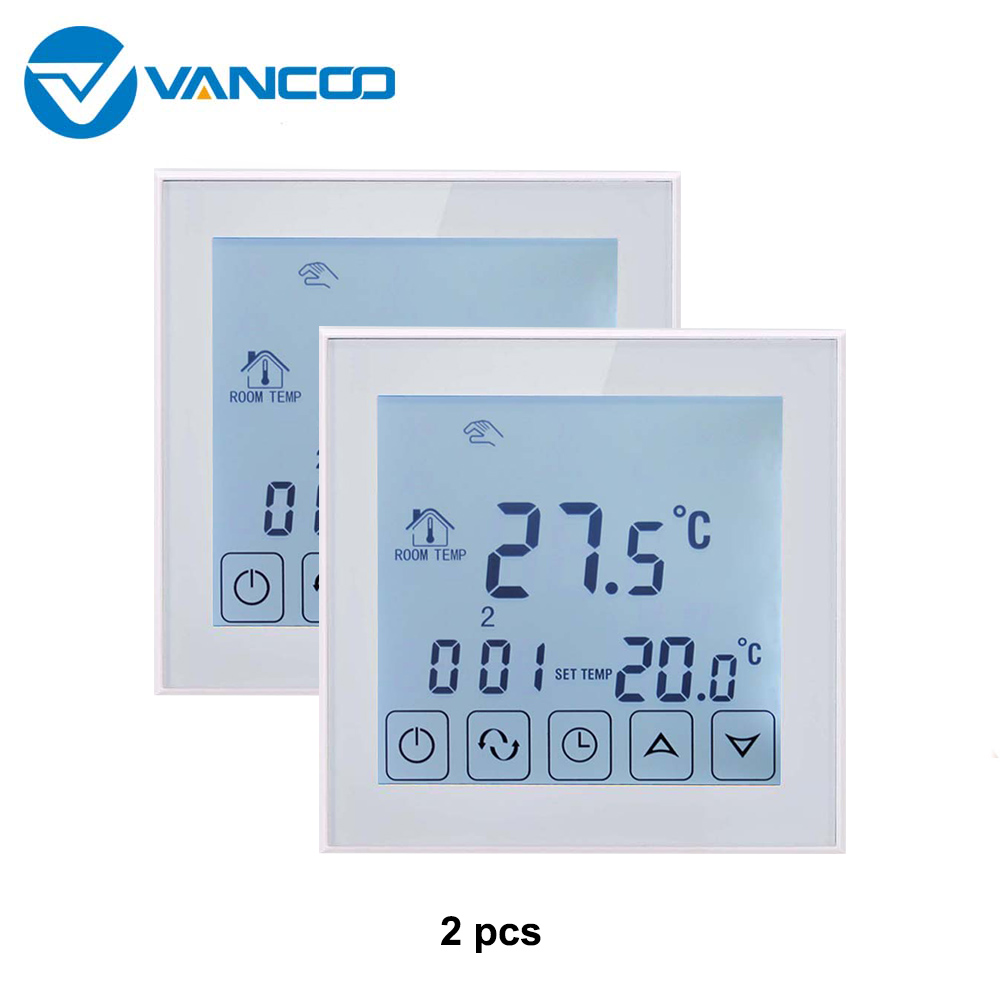 Vancoo 2pcs Smart Wifi Thermostat For Floor Heating Electric Room Warm Temperature Controller With Sensor